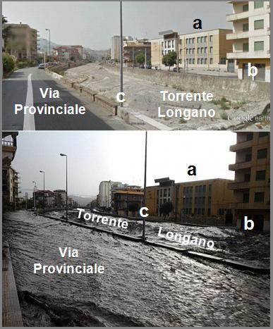 Figura 12: effetti dell'onda di piena riversatasi lungo il Torrente Longano all'interno dell'abitato di Barcellona Pozzo di Gotto.