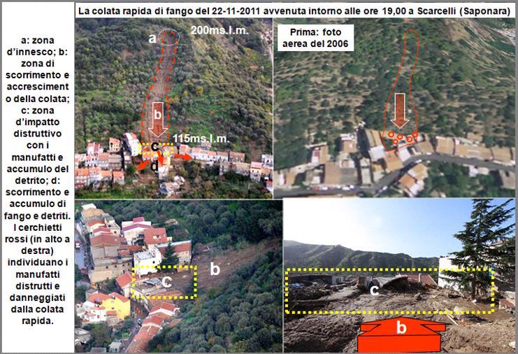 Figura 13: effetti della colata rapida di fango che ha interessato l'abitato di Saponara (località Scarcelli) lungo la fascia orientale dell'area più gravemente interessata dalle precipitazioni piovose.