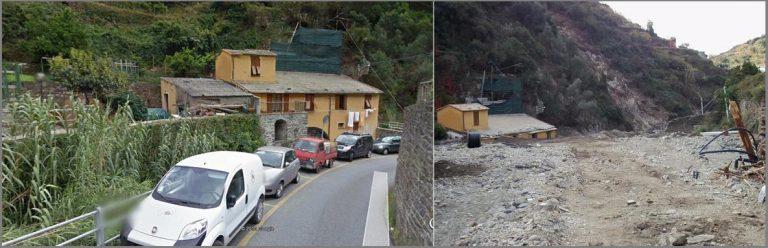 Figura 23: a sinistra la Strada Provinciale nella parte alta di Vernazza prima dell'evento, a destra dopo: è evidente l'accumulo di detriti che ha completamente colmato l'alveo e la strada stessa.