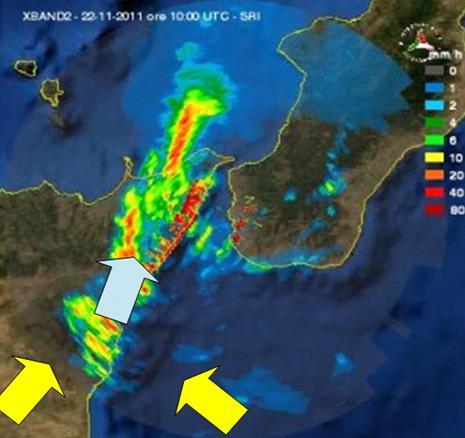 Figura 5: Immagine radar delle ore 11.00 locali del 22 novembre 2011: si notano diverse aree con precipitazioni a fondo scala in termini di intensità (Fonte: Protezione Civile)