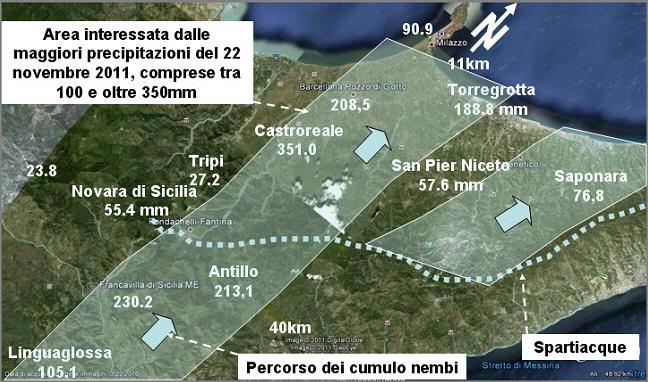 Figura 6: ricostruzione dell'area, in base ai dati pluviometrici resi noti e agli impatti sul suolo, di circa 440 kmq, maggiormente interessata dalle precipitazioni piovose rilasciate dai cumulonembi che hanno percorso la Sicilia nordorientale da sud-ovest verso nord-est il giorno 22 novembre 2011.