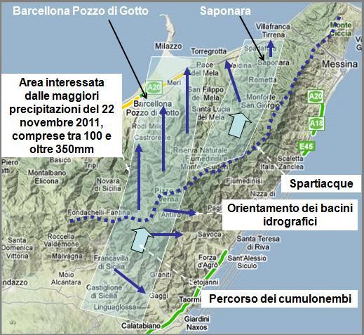 Figura 8: ricostruzione dell'area più gravemente interessata dalle precipitazioni piovose e dai più distruttivi in relazione alle precipitazioni, alle locali caratteristiche geoambientali e alla morfologia dei bacini imbriferi.