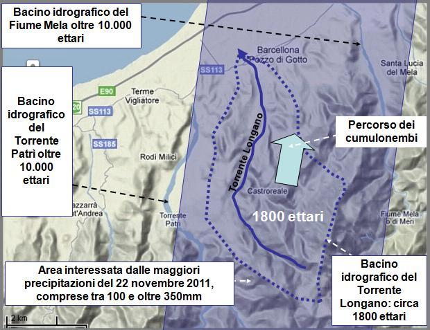 Figura 9: individuazione del bacino idrografico del Torrente Longano ubicato lungo la fascia occidentale dell'area più gravemente interessata dalle precipitazioni piovose.