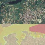 Figura 11:  Le aree potenzialmente inondabili individuate (zone a colori) secondo il PAI (immagine in basso) nel territorio di Torpè. Le aree inondabili si rinvengono fino alla quota di +10, +12m s.l.m. e sono quelle urbanizzate dopo il 1954 e interessate da manufatti rurali e infrastrutture viarie.