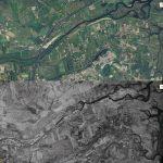 Figura 12:  Urbanizzazione di Posada e della pianura alluvionale circostante nel 1954 (immagine in basso) e nel 2006 (immagine in alto). E' evidente che dopo il 1954 c'è stata una limitata occupazione del territorio più basso soggetto ad inondazione come accaduto il 18 novembre 2013.
