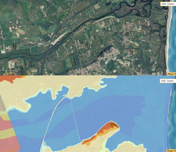 Figura 13:  Le aree potenzialmente inondabili secondo il PAI (immagine in basso) nel territorio di Posada riprodotto in una foto aerea di alcuni anni fa (immagine in alto).