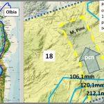 Figura 14:  A sinistra è riportato il percorso, fino ad Olbia, dei cumulonembi lungo la fascia orientale della Sardegna. A destra è schematizzata la terminazione settentrionale del percorso dei cumulonembi nella zona di Monte Pinu, nella parte alta del bacino del Riu de Seligheddu.