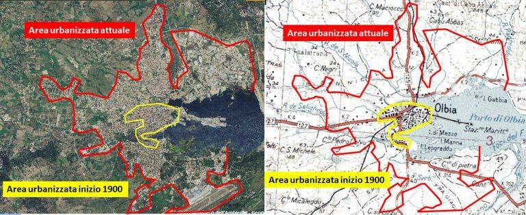 Figura 15: L'urbanizzazione di Olbia all'inizio del 1900 (immagine a destra) e attualmente (a sinistra).