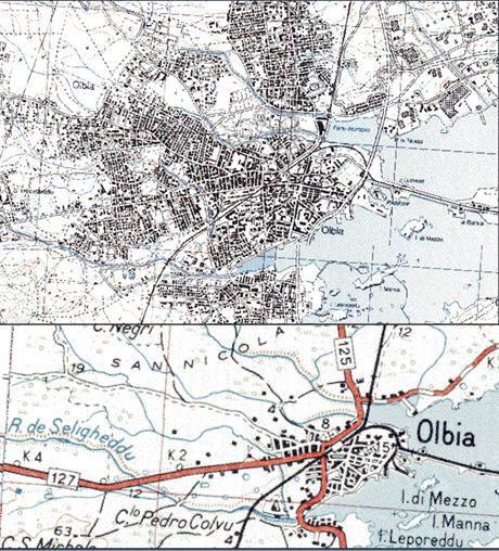 Figura 16: L'urbanizzazione di Olbia all'inizio del 1900  (immagine in basso) e alcune decine di anni fa (immagine in alto) Sono evidenti i corsi d'acqua che sono stati progressivamente inglobati nell'area urbana.