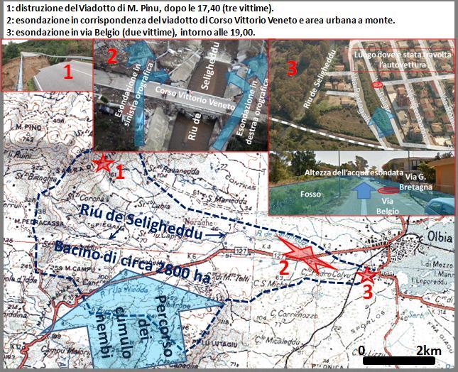 Figura 17: Effetti disastrosi dei potenti flussi che sono stati alimentati dalle piogge tipo bomba d'acqua rilasciate dai cumulonembi il 18 novembre 2013.