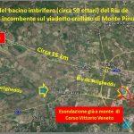 Figura 18: Principali effetti disastrosi, che sono stati registrati nel bacino e nell'abitato di Olbia, dei potenti flussi alimentati dalle piogge tipo bomba d'acqua incanalatisi nel Riu de Seligheddu.