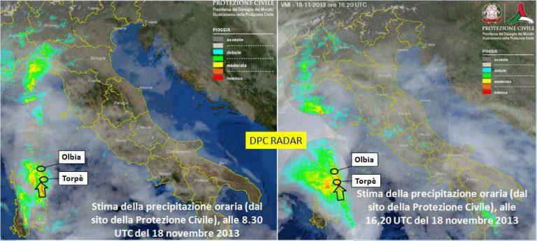 Figura 3: Il percorso della perturbazione Cleopatra ricostruito con i dati del radar della protezione civile nazionale che già dalla mattina del giorno 18 novembre 2013 evidenziava le aree maggiormente interessate dalle precipitazioni piovose. Fin dal giorno precedente era stato evidenziato il percorso da sud a nord della perturbazione. L'evento piovoso del giorno 18 ha confermato in pieno le previsioni del bollettino diramato il giorno 17 dalla Protezione Civile Nazionale: