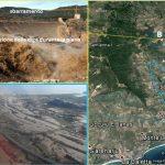 Figura 6: Effetti della piena in corrispondenza della diga Maccheronis e nel fondo valle di Torpè e Posada. L'immagine A individua le aree dove gli effetti sono stati più devastanti. B: tracimazione della diga; C: esondazione nella pianura alluvionale nei territori di Torpè e Posada.