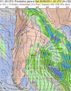 """La configurazione ideale per l'attivazione del freddo """"Pampero"""" sulle pianure argentino"""