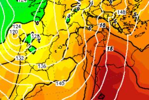 Le temperature previste per la notte tra sabato 18 e domenica 19 a 850hPa