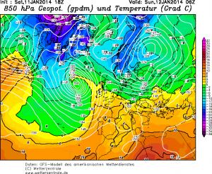 Il blocco di aria gelida che in giornata si verserà sulla penisola Scandinava