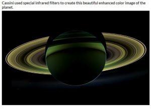 Saturno vista con un filtro speciale della sonda Cassini