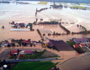 alluvione 2010Rottura argine fiume Frassine a Prà di Botte di Saletto.Nella foto: veduta aerea della zona di Pra di Botte.