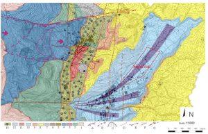 Figura 1 – Carta Geologica dell'area di studio da Iovine et al., 2006 mod.: 1) Unità Polia-Copanello: gneiss e scisti biotitici granatiferi (Paleozoico); 2) Unità Ofiolitica Diamante-Terranova: metabasiti (Giurassico-Cretacico Infer.); 3) Unità Ofiolitica Diamante-Terranova: metaradiolariti (Titonico-Neocomaniano); 4) Unità Ofiolitica Diamante-Terranova: metacalcarenite (Cretacico inf.); 5) Unità del Frido: scisti filladici (cretaceo); 6) Conglomerati (Miocene); 7) Argille con intercalazioni gessose (Miocene sup.); 8) Argille (Pliocene); 9) Limi e sabbie limose (Pliocene); 10) Conglomerati di conoide (Pleistocene); 11) Depositi rossastri eluvio-colluviali (Olocene); 12) Conglomerati di conoide interessati da frana (Olocene); 13) metapeliti e metabasiti cataclastiche; A) struttura da accomodamento tettono-gravitativo; B) Scarpate; C) Scarpata di Paleofrana; D) Corpo di paleo frana; E) Sovrascorrimento; F) Faglia normale; G) Faglia trascorrente;
