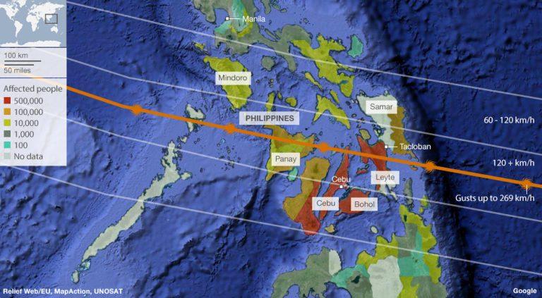 Nell'immagine l' impatto dei venti del tifone con la distribuzione della densità di popolazione nelle zone colpite