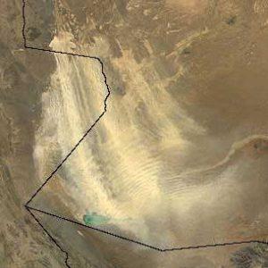 """Una tempesta di polvere sollevata nel sud-ovest dell'Afghanistan dal soffio impetuoso del """"Sad-u-bist ruz"""""""