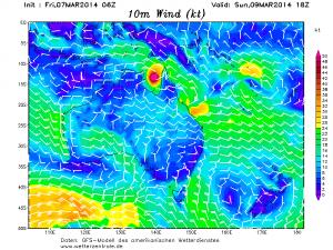 Il modello GFS evidenzia una notevole intensificazione della perturbazione tropicale nel corso delle prossime 48 ore