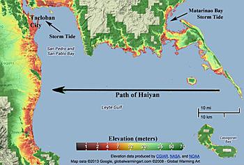 Nell'immagine  impatto del tifone nella zona di Tablocan con l'altezza delle onde sviluppatesi a causa del successivo Tsunami