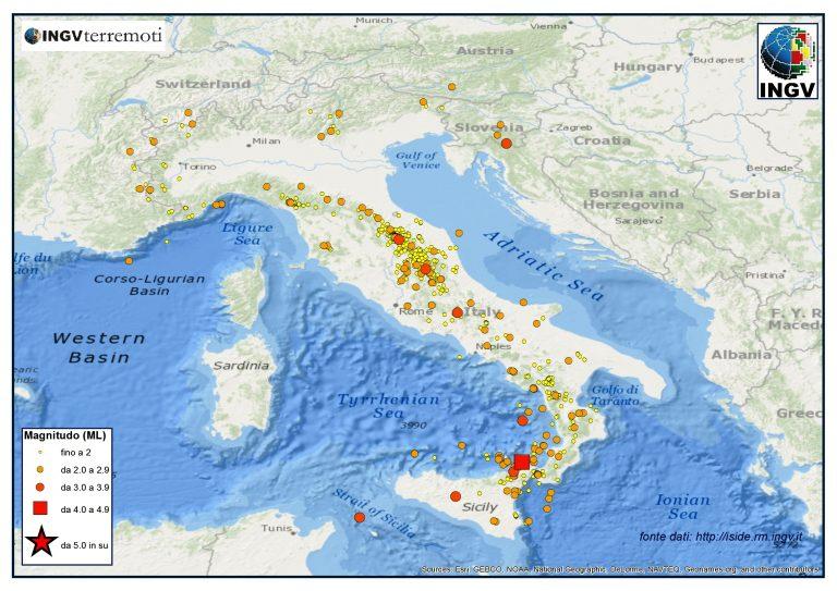 Terremoti dal 1 al 28 febbraio 2014  in Italia