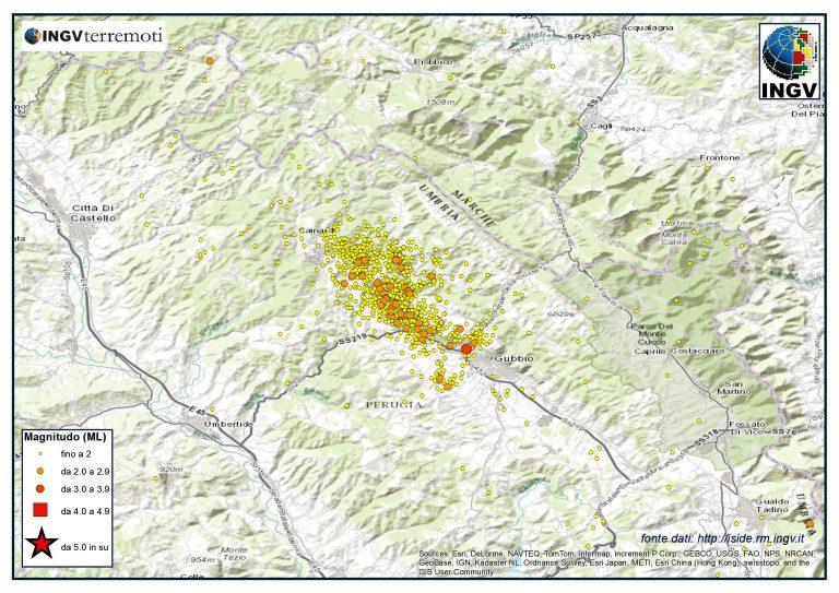 La sequenza sismica nell'area del Bacino Gubbio nel mese di febbraio 2014. Oltre 2000 gli eventi registrati dalla Rete Sismica Nazionale, tutti di bassa magnitudo
