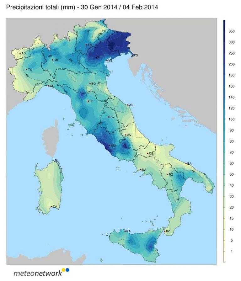 Nell'immagine meteonetwork precipitazione rilevata dalla rete amatoriale tra fine Gennaio ed inizio Febbraio 2014.Ecco un esempio di come il volontariato può integrare in modo efficace l'informazione meteorologica e servire come strumento di monitoraggio  e prevenzione