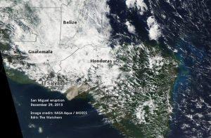 San Miguel - El Salvador - eruption seen from space - NASA Aqua MODIS - December 29 2013 edit The Watchers