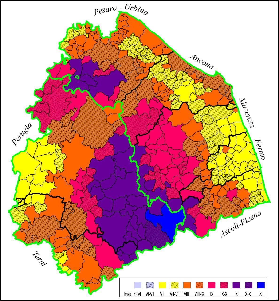 Massima intensità sismica Marche e Umbria