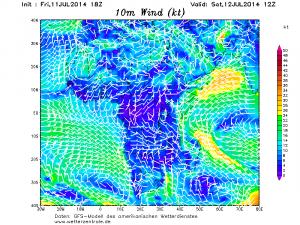 """Il flusso dell'umido """"Monsone di SO"""" in ulteriore intensificazione sopra il mar Arabico, con venti burrascosi fino a 90 km/h"""