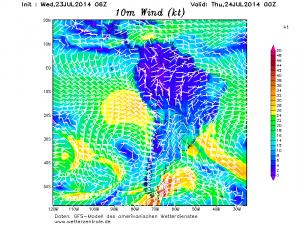 I forti venti da SE in azione davanti la costa peruviana