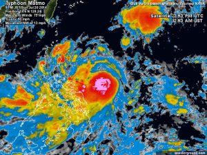Il tifone, in fase di approfondimento, sopra le caldissime acque superficiali del mar delle Filippine