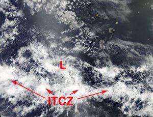 L'ITCZ in ulteriore risalita lungo l'Atlantico centrale