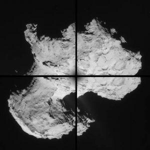Un mosaico di quattro immagini della cometa riprese da Roset
