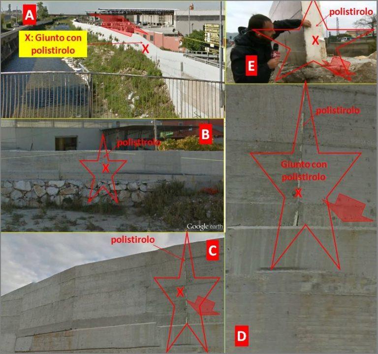Figura 3: le immagini A e B evidenziano il muro crollato visto dall'interno; è evidenziato il giunto con polistirolo X a partire dal quale inizia la rottura. Le immagini C, D ed E evidenziano il giunto citato con il polistirolo.