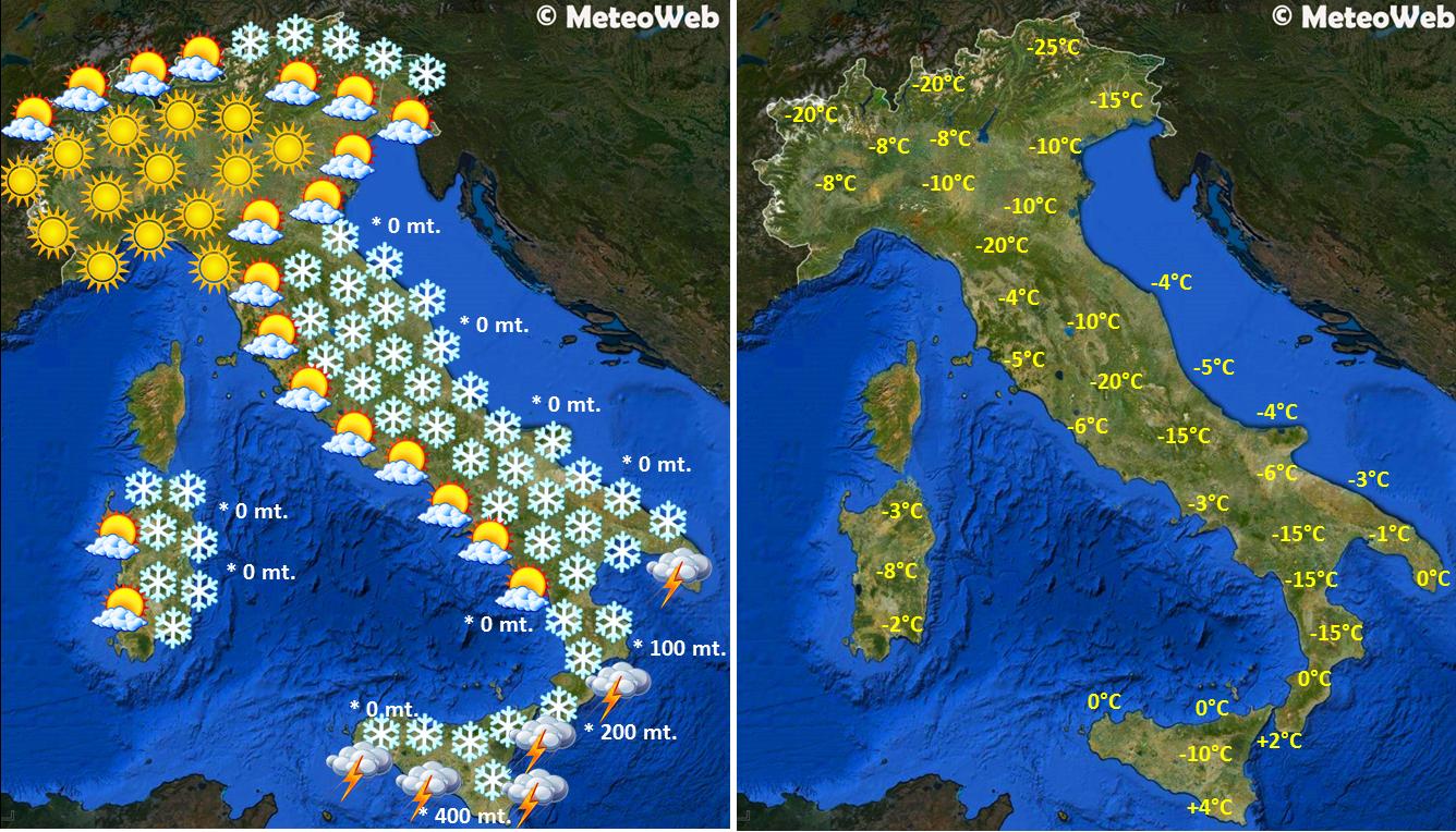 Meteo Cartina Italia.Previsioni Meteo Capodanno Centro Sud Sommerso Di Neve Tra 30 E 31 Dicembre Mappe