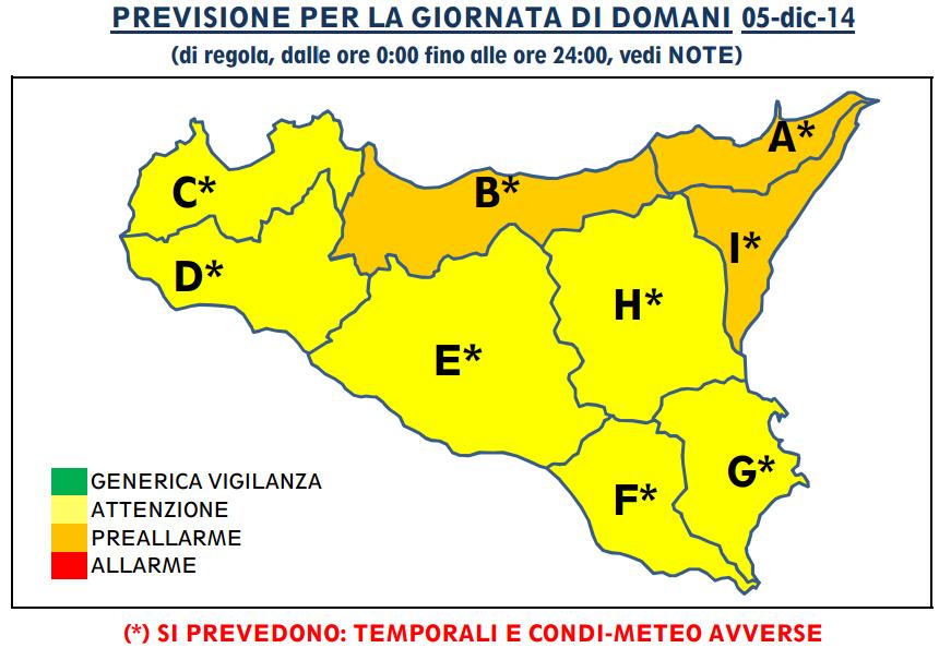 Allerta meteo sicilia domani criticit arancione per la - Meteo bagno di romagna domani ...