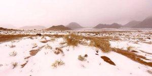 Ecco le magnifiche immagini che testimoniano l'evento nevoso sui monti dell'Arabia Saudita nord-occidentale