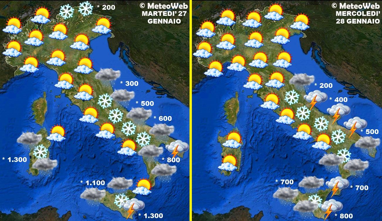 Meteo Cartina Italia.Allerta Meteo Altri Due Giorni Di Freddo Maltempo E Neve Al Sud Poi Arriva Il Vortice Polare Le Previsioni
