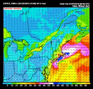 Si notano i venti piuttosto violenti attesi lungo le coste del Massachusetts e nell'area di Cape Cod