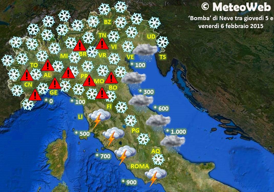 Allerta meteo bomba di neve al nord genova e bologna rischiano 50cm di accumulo milano e - Meteo bagno di romagna 15 giorni ...