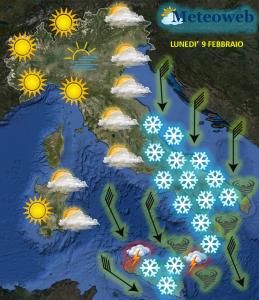 allerta meteo previsioni lunedì 9 febbraio 2015 gelo neve sud