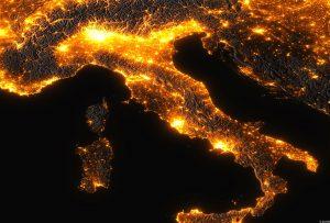 italia notte inquinamento luminoso