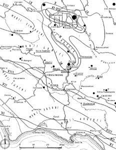 La mappa delle isosisme relative al terremoto del 1915. Si noti come l'epicentro è posizionato nella Piana del Fucino. Il terremoto venne chiaramente avvertito anche a Roma (da Esu e D'Elia)