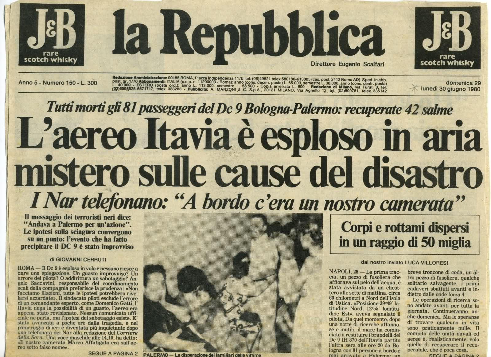 Ustica 35 anni dopo ecco la verit dc 9 abbattuto da un for Resoconto tratto da articoli di giornali