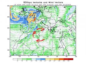 La mappa del vento a 850 hpa mette in evidenza l'origine della massa d'aria calda e rovente che si prepara ad investire le Isole Maggiori e le nostre regioni più meridionali