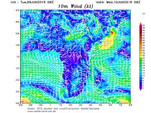 Si nota la temporanea intensificazione della circolazione monsonica lungo il bordo più orientale della tempesta tropicale